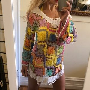 Other - Crochet multi color beach cover up